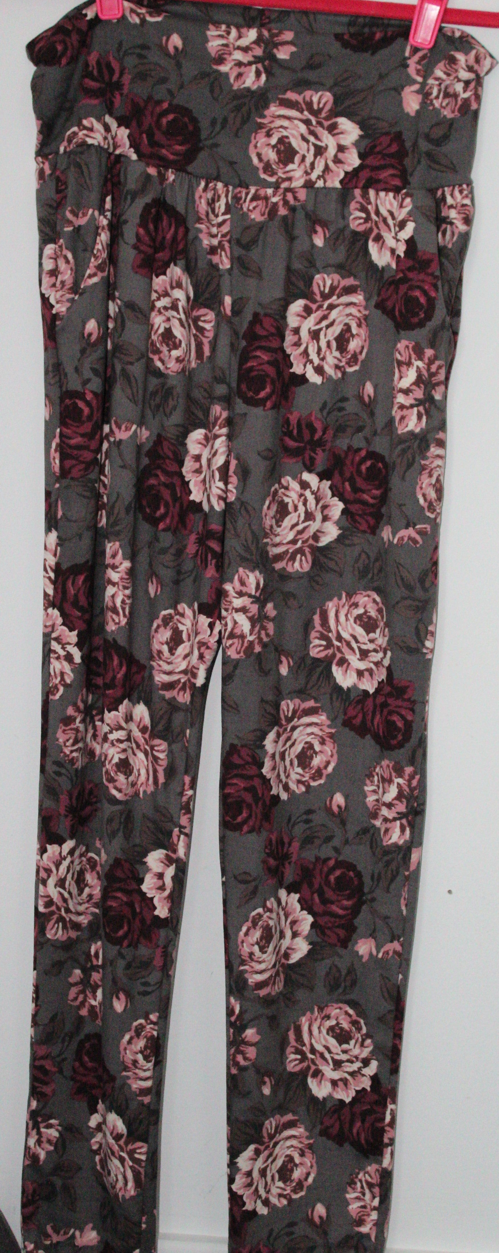 High Waist Green Floral Lounge Pants Large