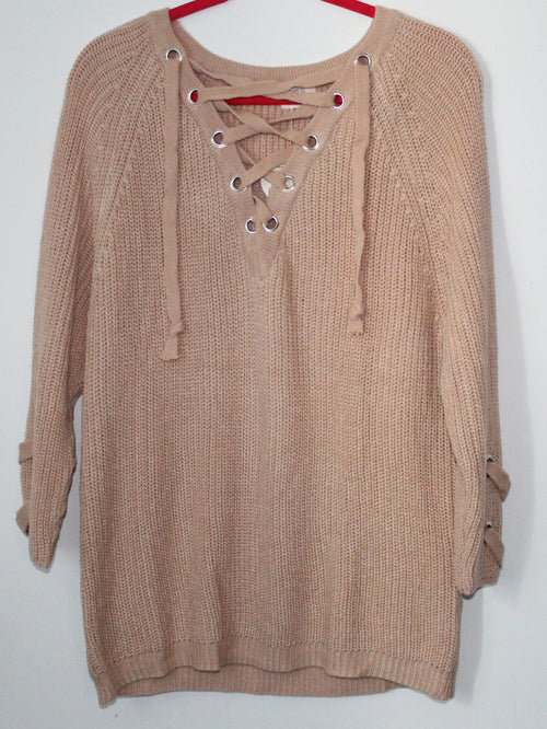 Light Pink Over Sized Knit Lace Up Sweater Small