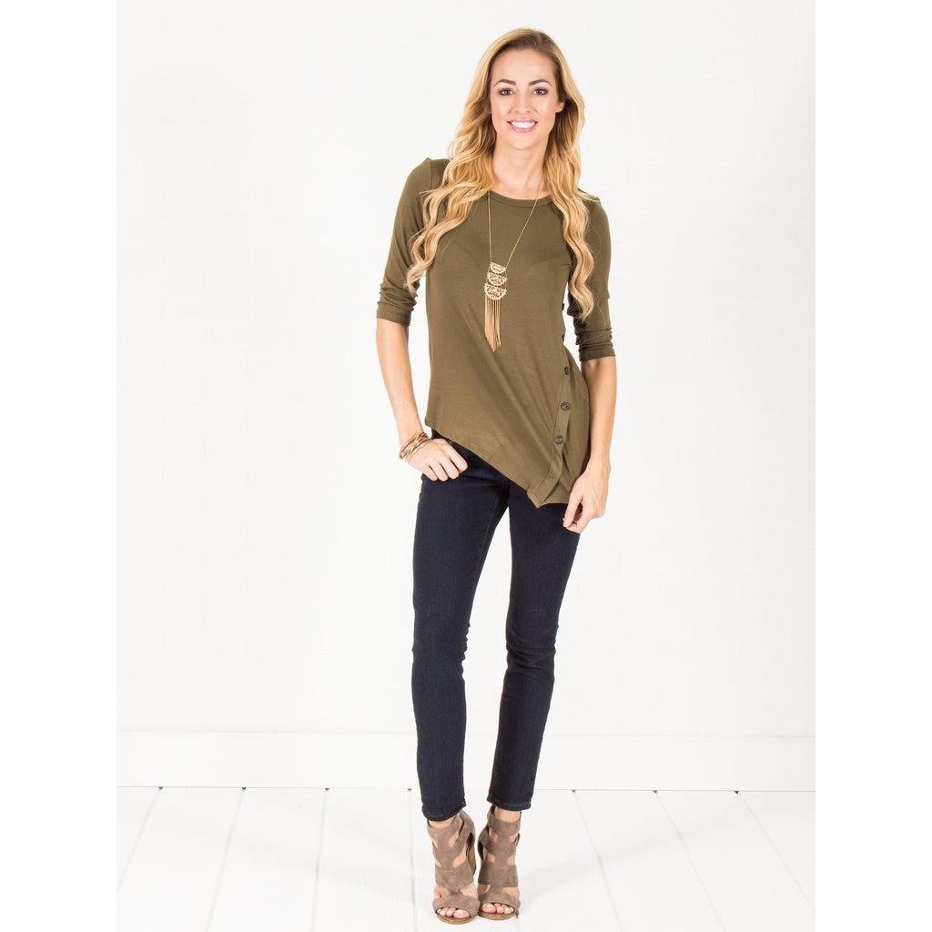 Asymmetrical Button Top