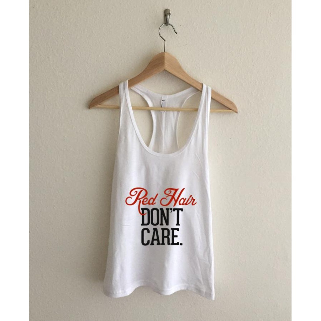 Red Hair Don't Care Racerback Tank