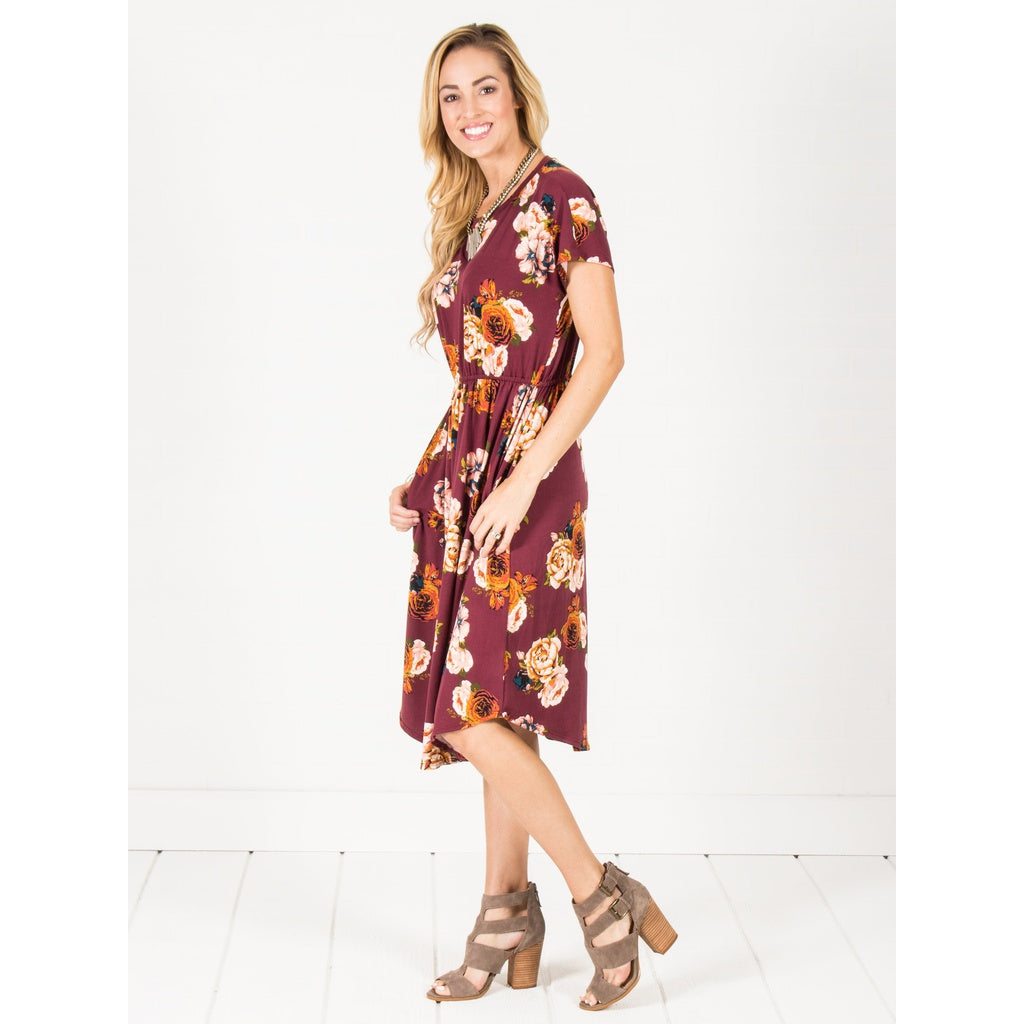 Floral Cinch Waist Midi Dress
