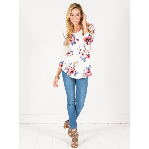 3/4 Sleeve Floral VNeck Tunic