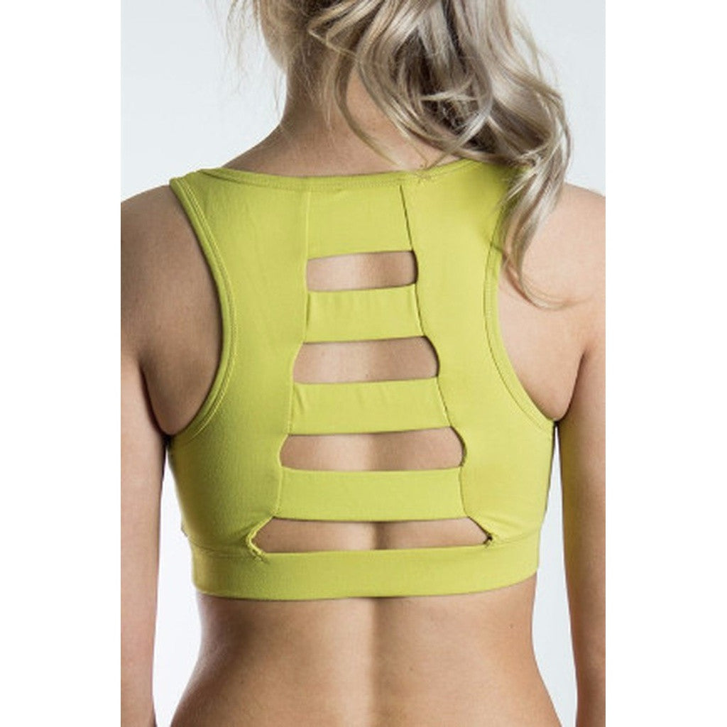 Yellow Ladder Back Sports Bra - TraceysTreasurez