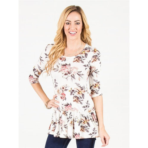 Floral Ruched Hem Tunic