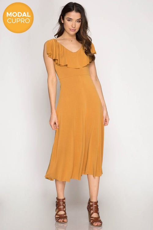 Ruffled V-Neck Modal Cupro Midi Dress