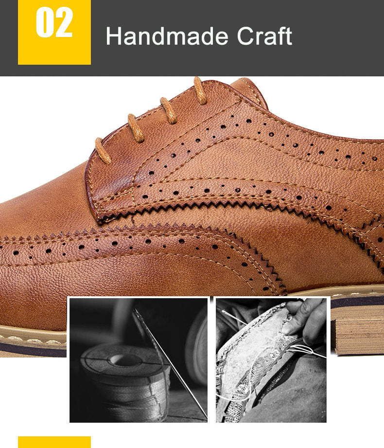 ... New 2018 Luxury Leather Brogue Mens Flats Shoes Casual British Style Men  Oxfords Fashion Brand Dress ... df55fd2f1ccb
