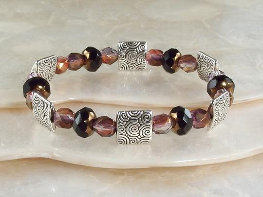 Glass and Pewter Beaded Stretch Bracelet
