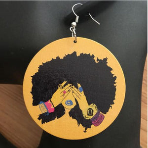 Fro Diva Wooden Earrings