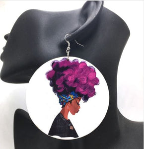 """Purple Fro"" Earrings"