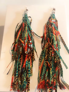 Handmade Print Wax Fabric Tassel Earrings (Style 2)