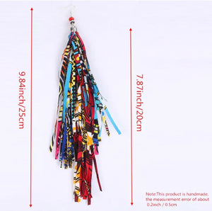 Handmade Print Wax Fabric Tassel Earrings (Style 5)