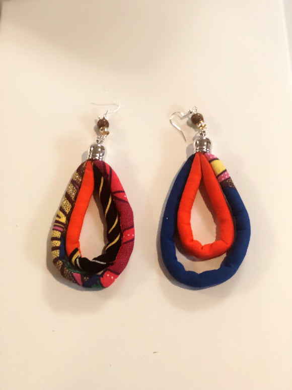 Handmade Print Wax Fabric Hoop Earrings (Style 1)