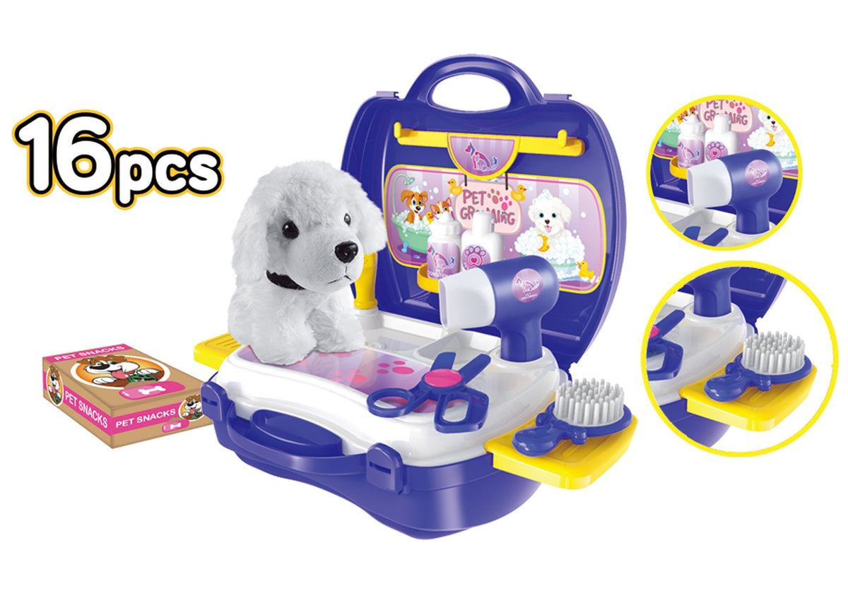 Pet Grooming 16 Piece Suitcase Playset
