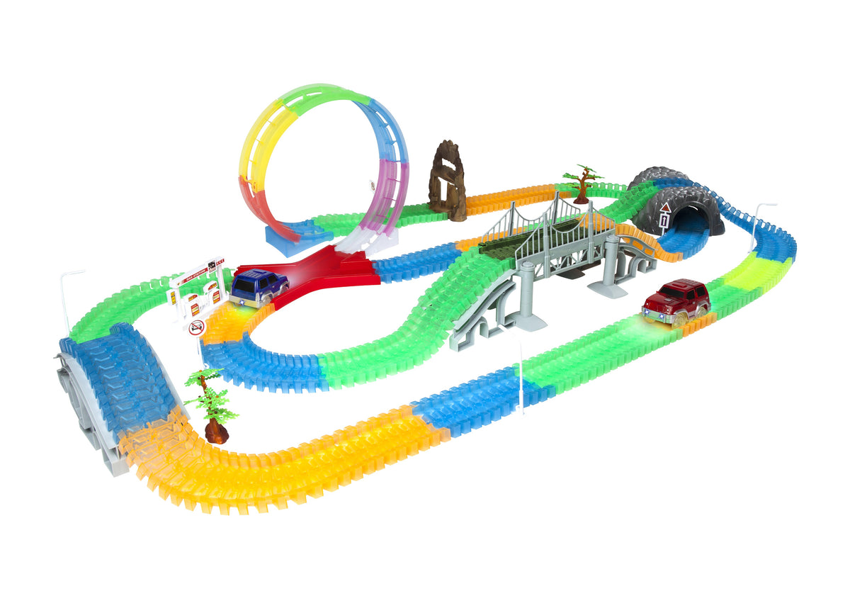 Mega Galaxy Flex-Track 425 Piece Glow Track with 2 Electric LED Light Cars
