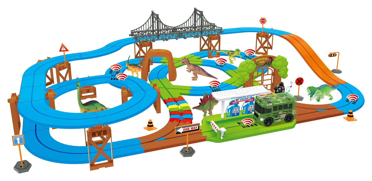 Dino Safari Galaxy Flex Track 115 Piece Intelli-Bus Technology