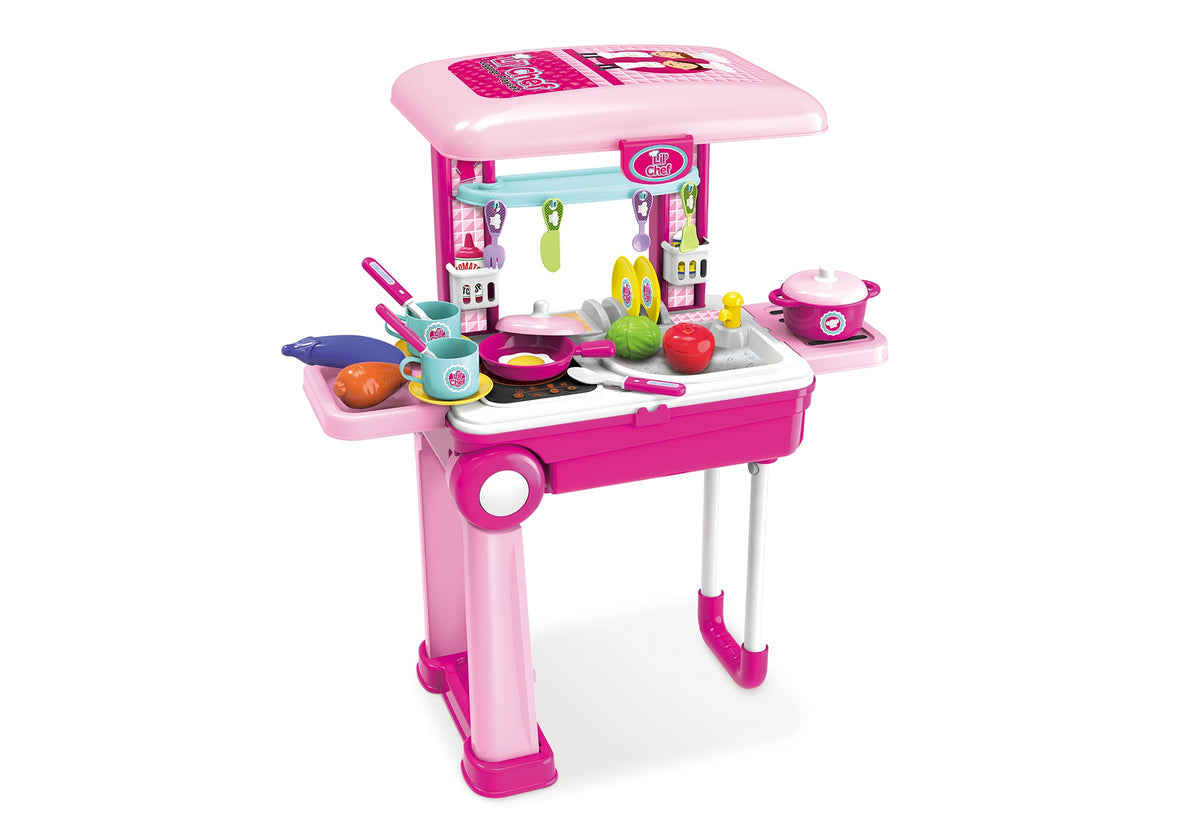 Lil Chef Pink Mobile Suitcase Playset