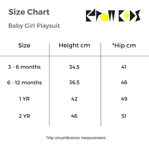 Kapow Kids Baby Girl Playsuit Size Chart