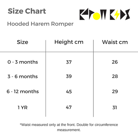 KaPow Kids Hooded Romper Size Chart