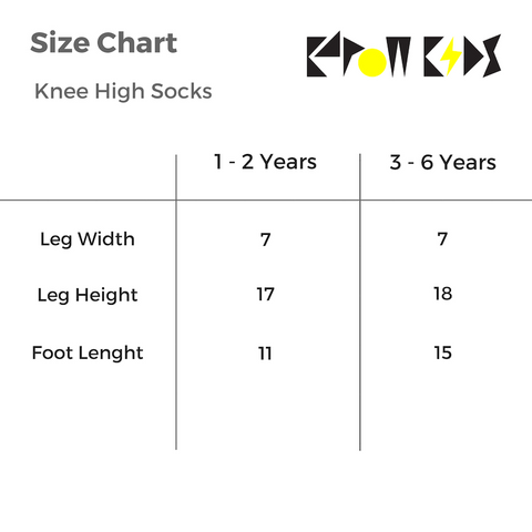 KaPow Kids Knee High Socks Size Chart