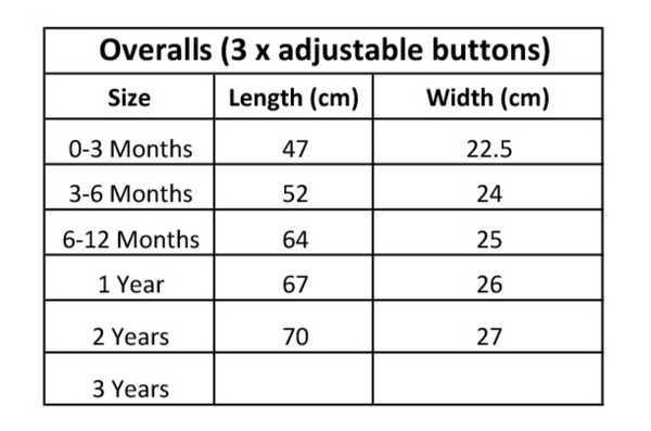 KaPow Kids Overalls Size Guide - Summer 19