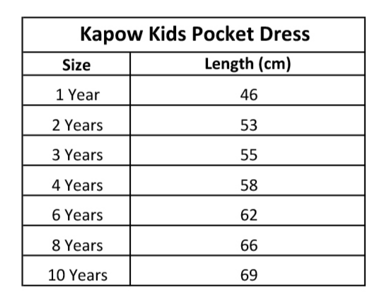 KaPow Kids Pocket Dress Size Chart - Summer 19
