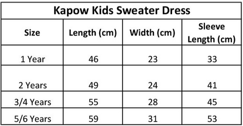 kapow-kids-sweater-dress-size-chart
