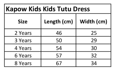 KaPow Kids Tutu Dress Size Chart - Summer 19