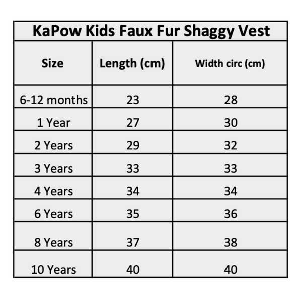 Kapow Kids Winter Faux Fur Vest Size Chart