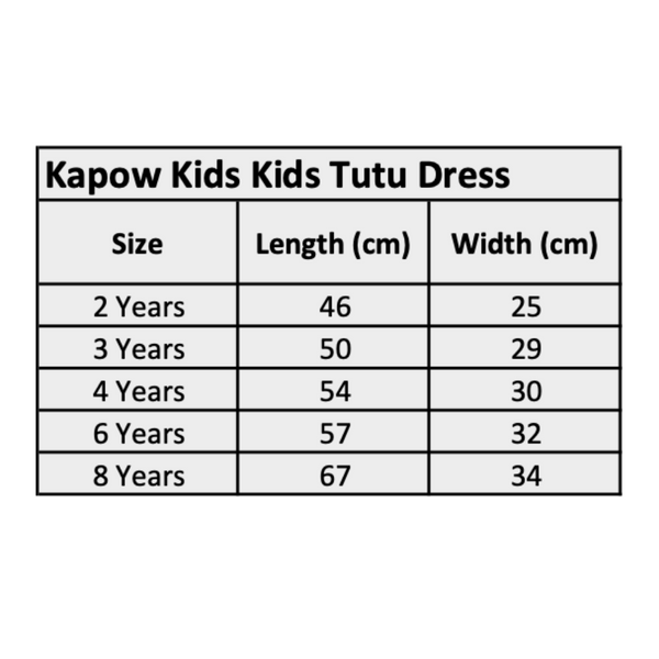 Kapow Kids Winter Girls Tutu Dress Size Chart