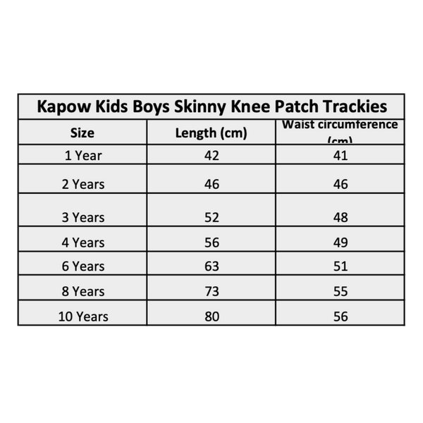 Kapow Kids Winter Boys Trackies Size Chart