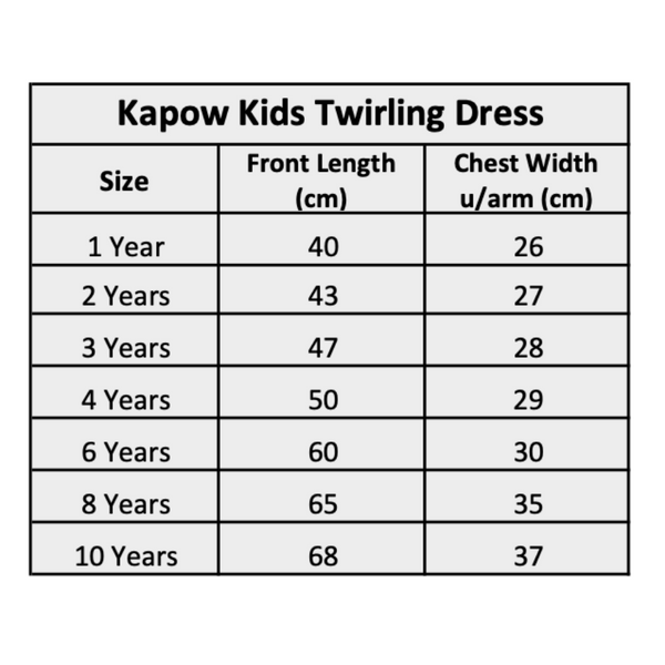Kapow Kids Winter Twirling Dress Size Chart