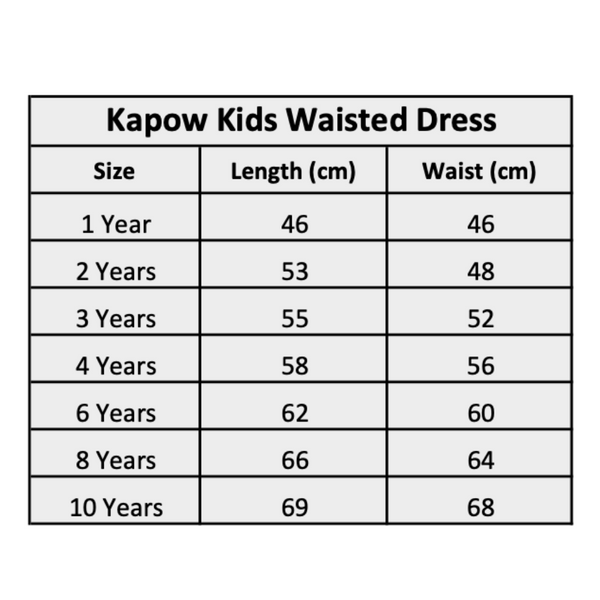 Kapow Kids Winter Waisted Dress Size Chart