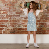 Minti Dotty Denim Pinafore