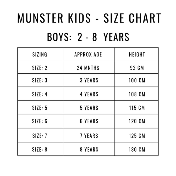 Munster Kids Size Guide