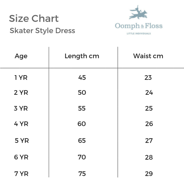 Oomph and Floss Skater Style Dress Size Chart