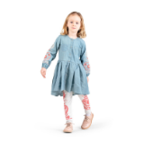Paper Wings Fold Embroidery Dress Girls