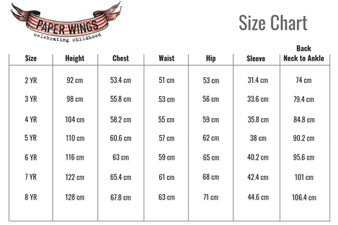 Paper Wings Size Chart