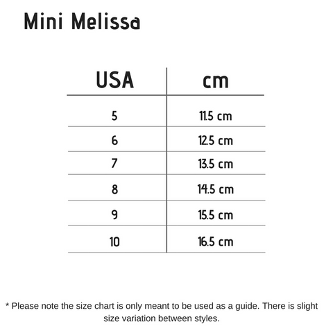 Mini Melissa Shoes for girls - Size Chart