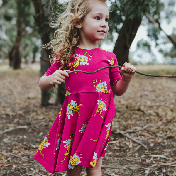 Spike The Corroboree Frog Short Sleeve Dress