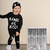 Kriss Kross French Terry Skinny Trackies - Black, Pants, KaPow Kids - Annie and Islabean