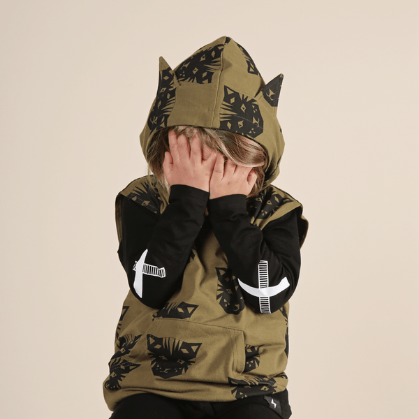 Tiger French Terry Sleeveless Pocket Hood