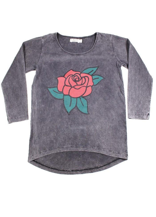 Sunday the Label Vintage Black Rose Long Sleeve Top
