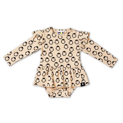 Penguin Baby Dress - Beige