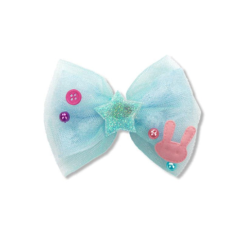 Party Bunny Bow Duck Clip - Blue
