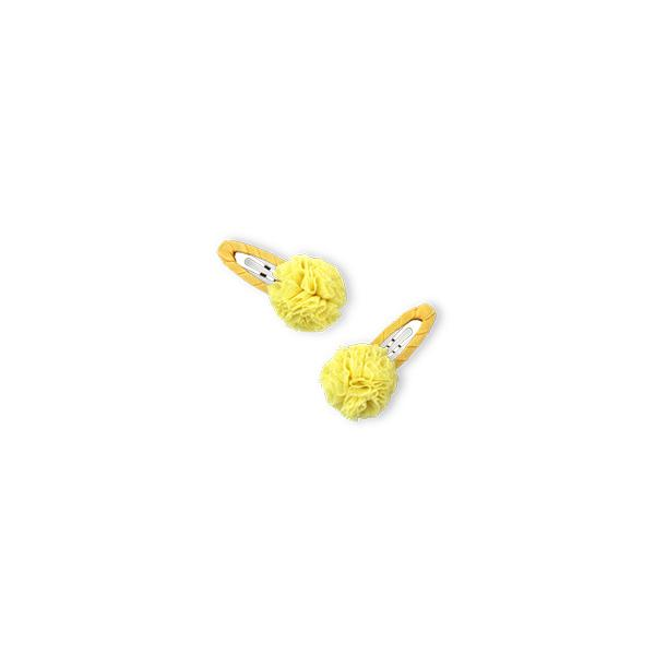 Tulle Pompom Snap Clip - Yellow