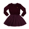 Rock Your Baby Velvet Long Sleeve Circus Dress - Plum