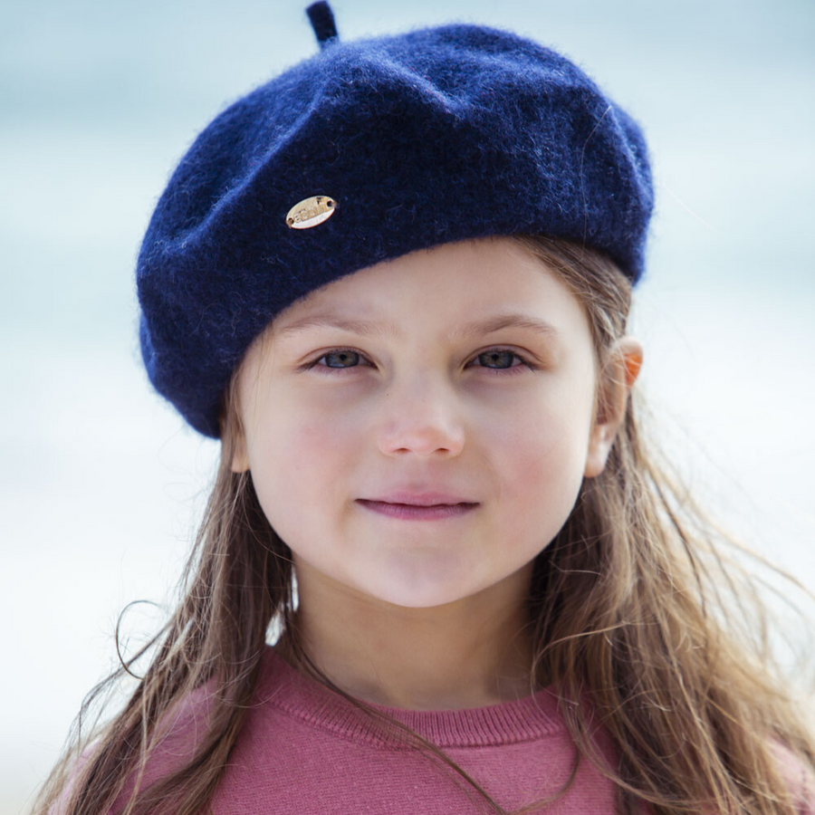 Acorn Ivy Wool Beret - Navy - Annie and Islabean