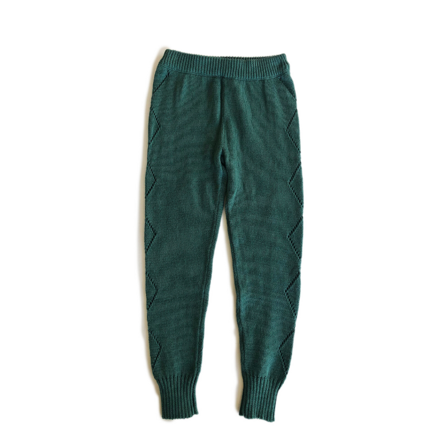 Bella and Lace Knitted Leggings - Green Hills