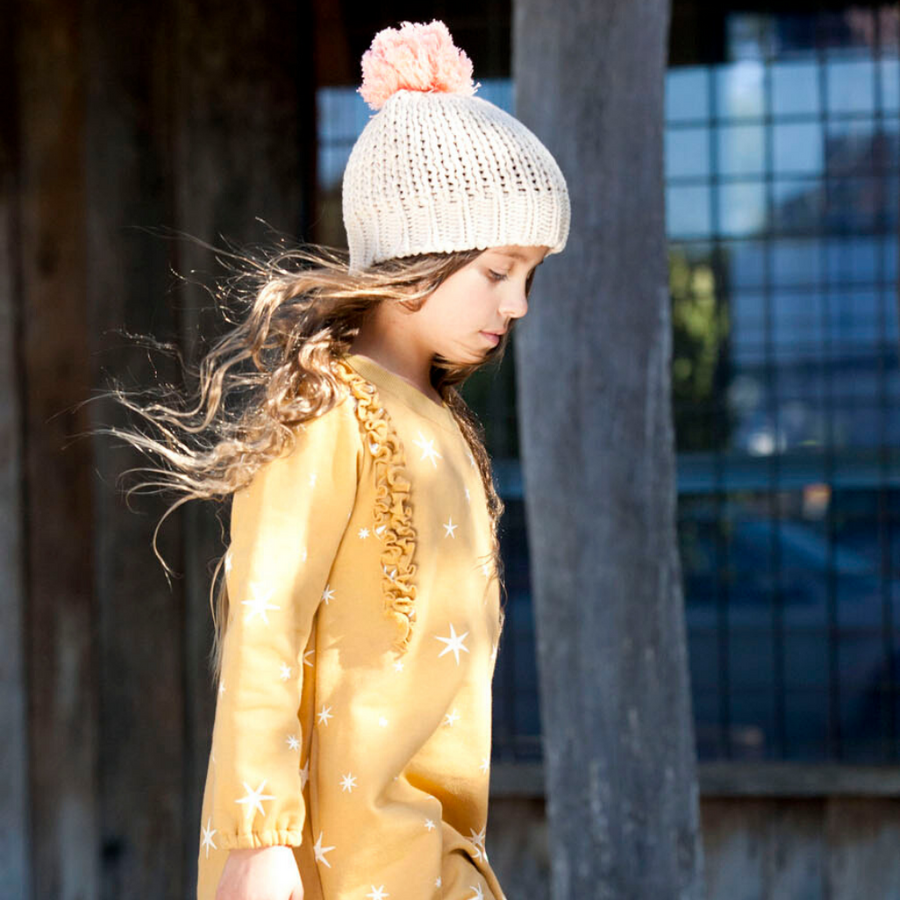 Bella and Lace Pom Pom Beanie - Porridge - Annie and Islabean