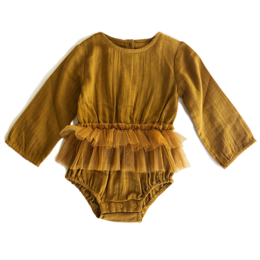 Pre-order Bella and Lace Twinkle Romper - Butter Chicken - Annie and Islabean